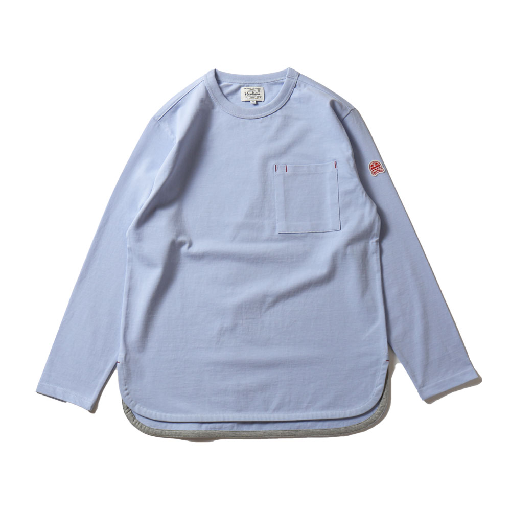 HORLISUNEmery Long Sleeve Pocket Seasonal T-shirts(Light Blue)