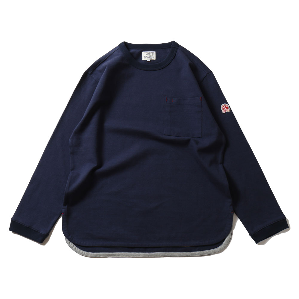 HORLISUNEmery Long Sleeve Pocket Seasonal T-shirts(Navy)