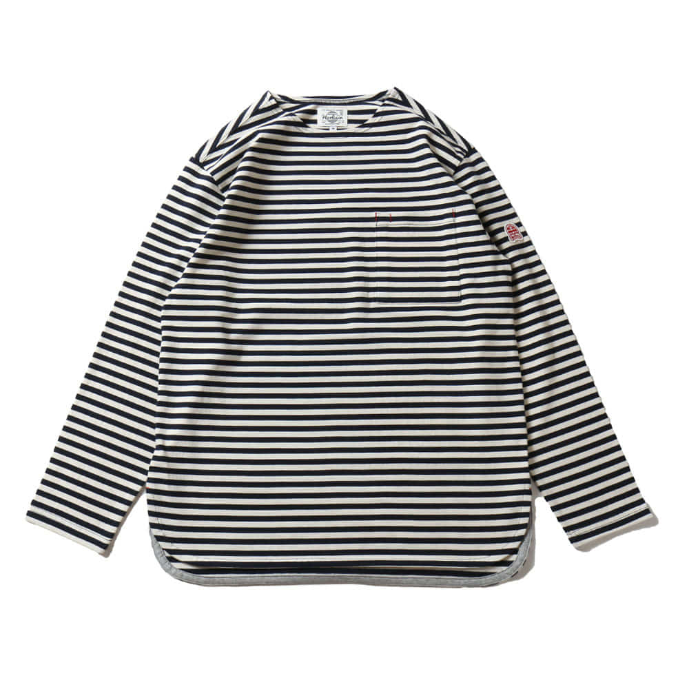 HORLISUNUnion Pocket Stripe Seasonal T-shirts(Narrow Navy)