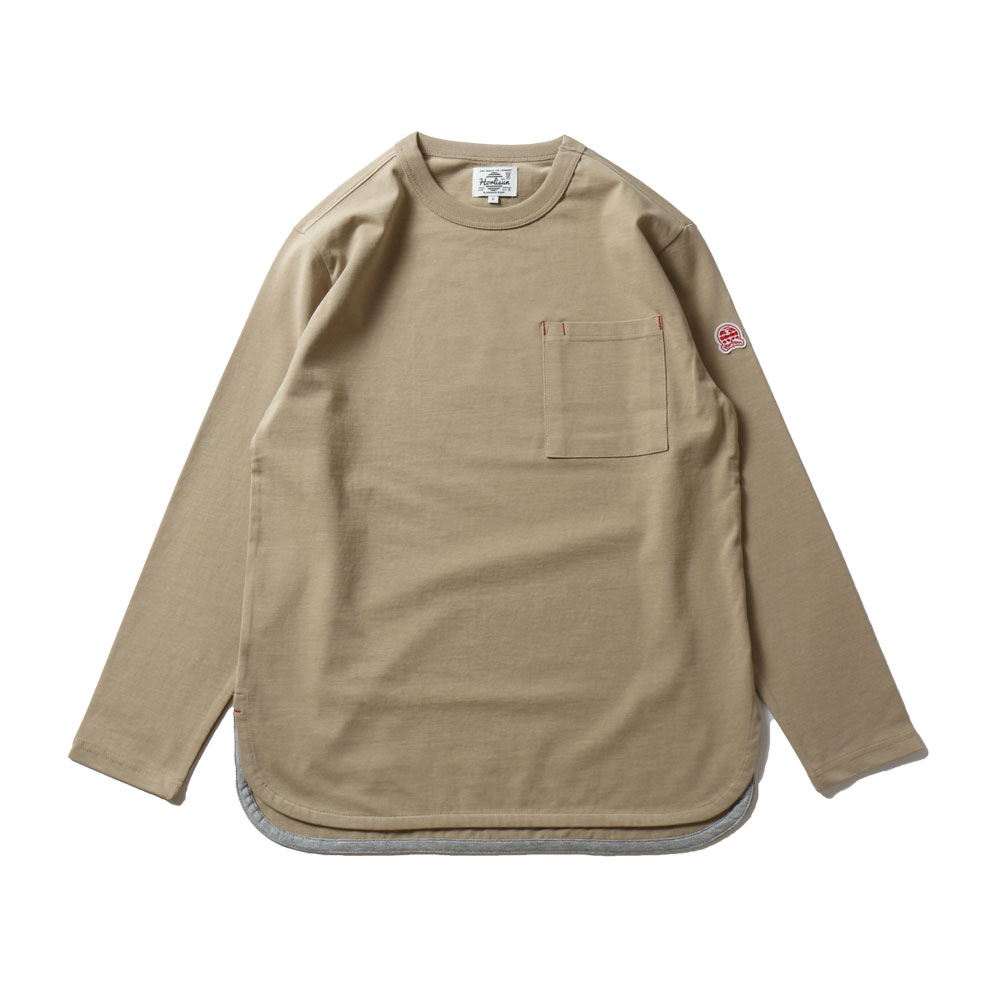 HORLISUNEmery Long Sleeve Pocket Seasonal T-shirts(Olive Beige)