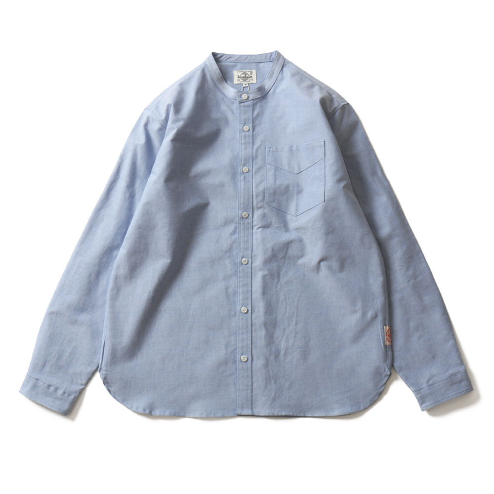 HORLISUNSuccess Stand Collar Oxford Shirts(Blue)