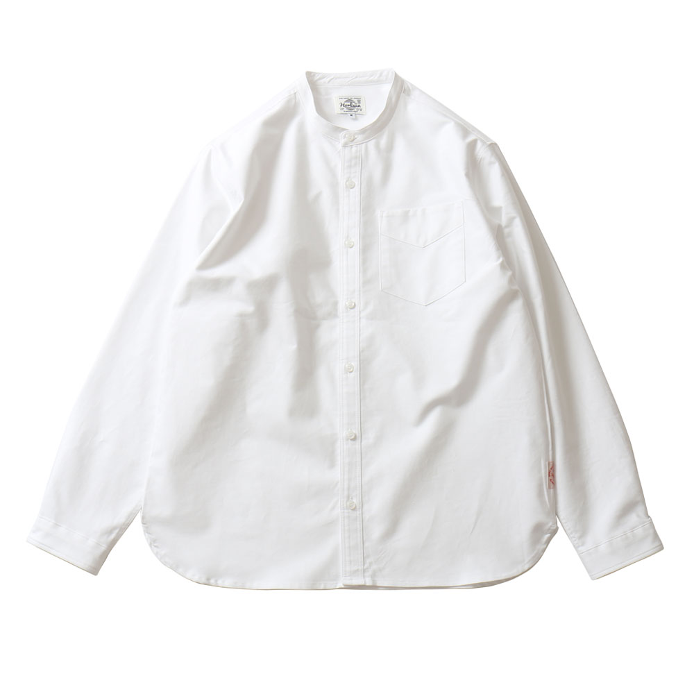 HORLISUNSuccess Stand Collar Oxford Shirts(White)