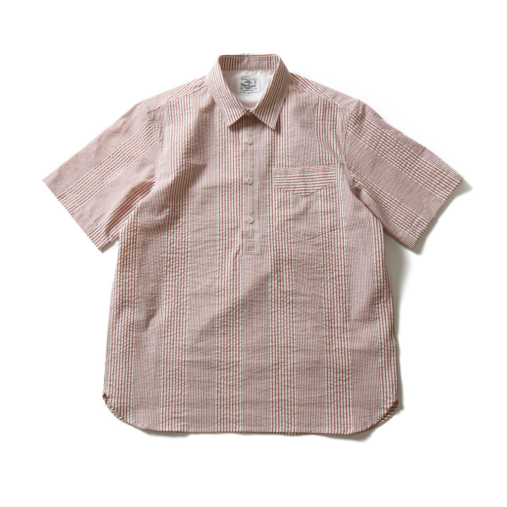 HORLISUNPerth Seersucker Pullover Shirts(Red Stripe)