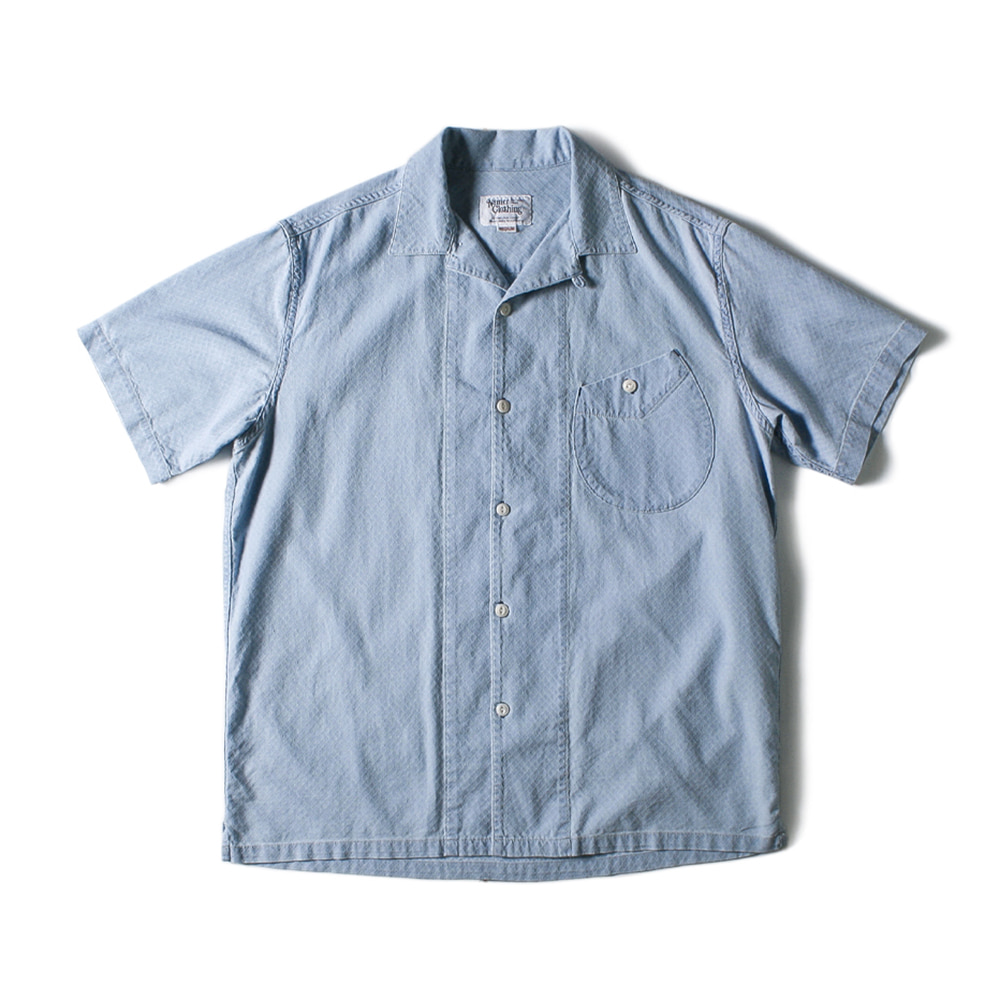 NAMER CLOTHINGBluer Washed Open Collar Shirts(Light Blue)