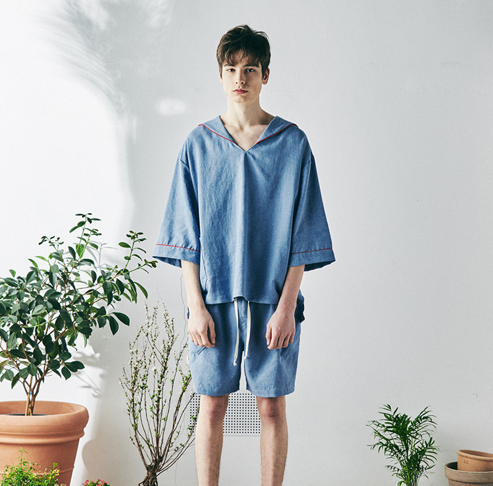 MONOPISPA(M) SAM Short Sleeve PJ Set(Arctic Blue)