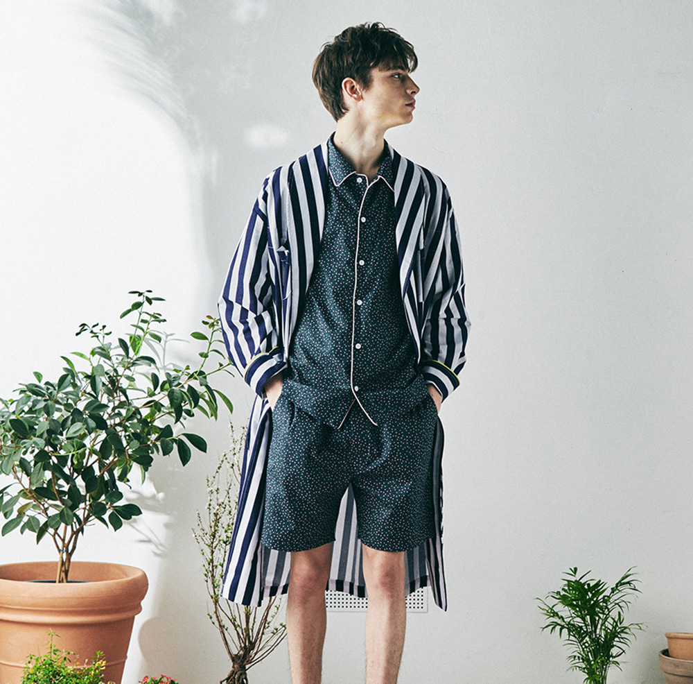 MONOPISPA(M) Buffalo Robe Coat 10% OFF(Stripe Navy)