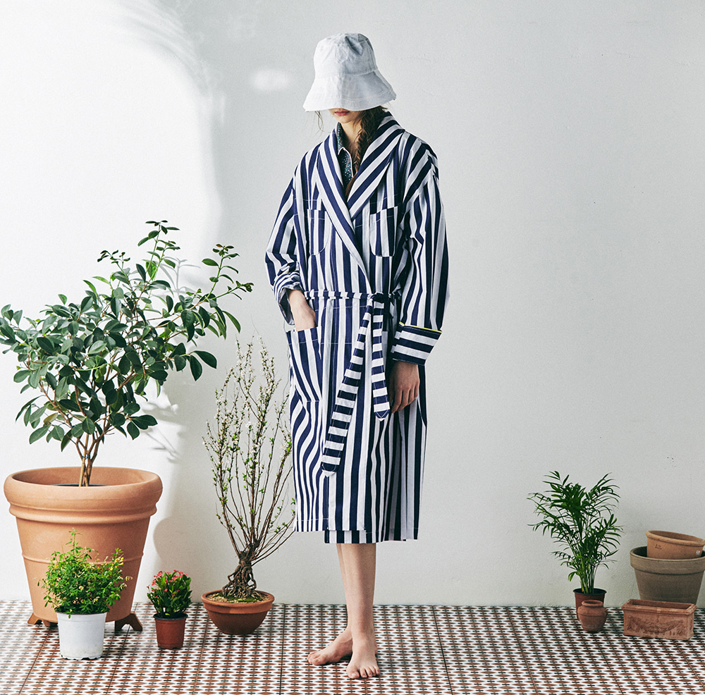 MONOPISPA(W) Buffalo Robe Coat (Stripe Navy)