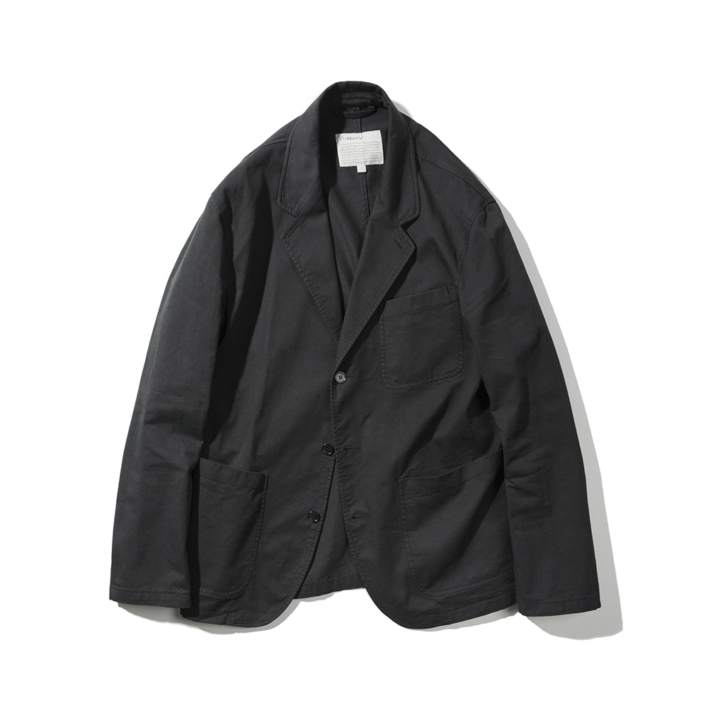 POTTERYWashed Sports Jacket Supima Cotton Twill(Dark Grey)