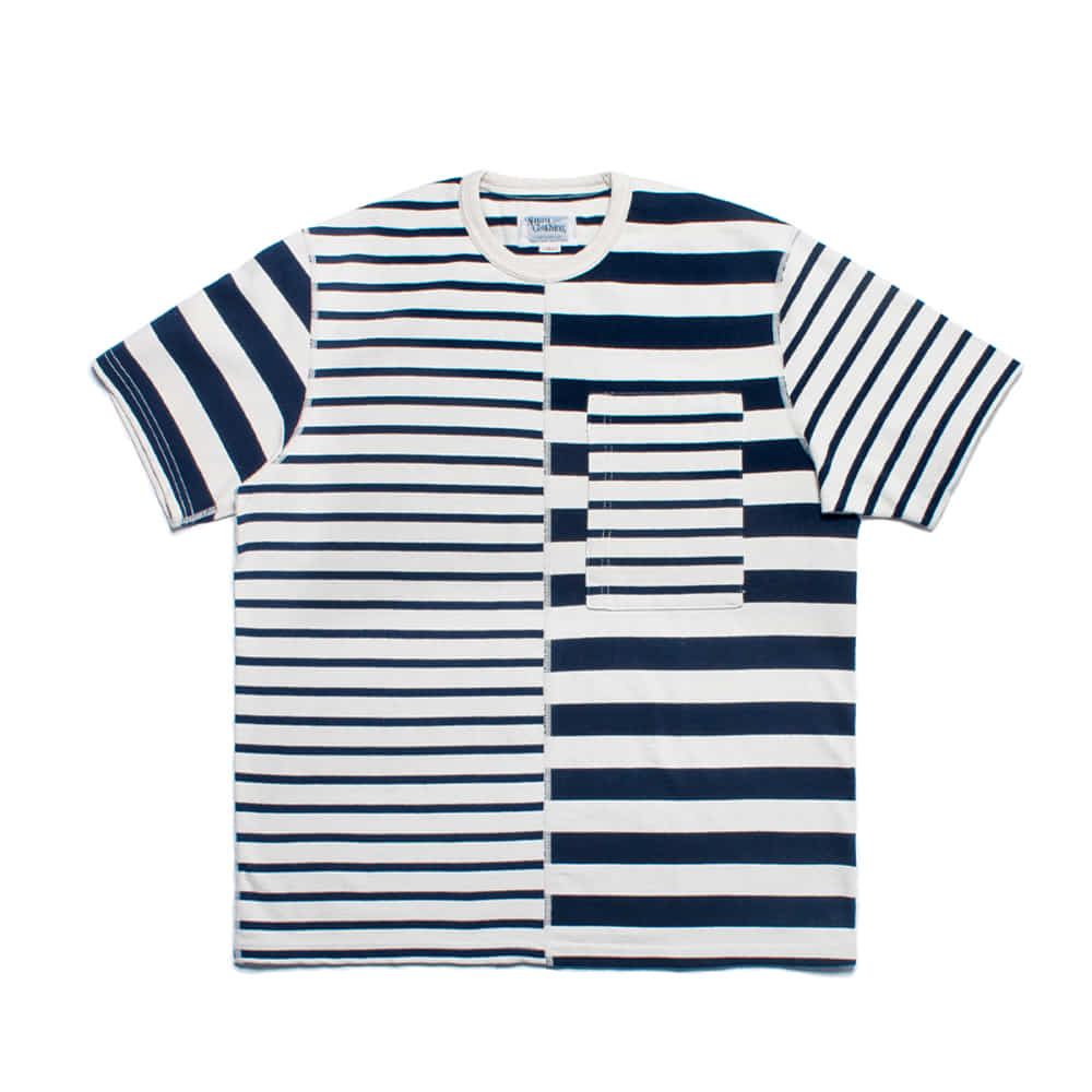 NAMER CLOTHINGHalf Stripes T-shirts(Navy)