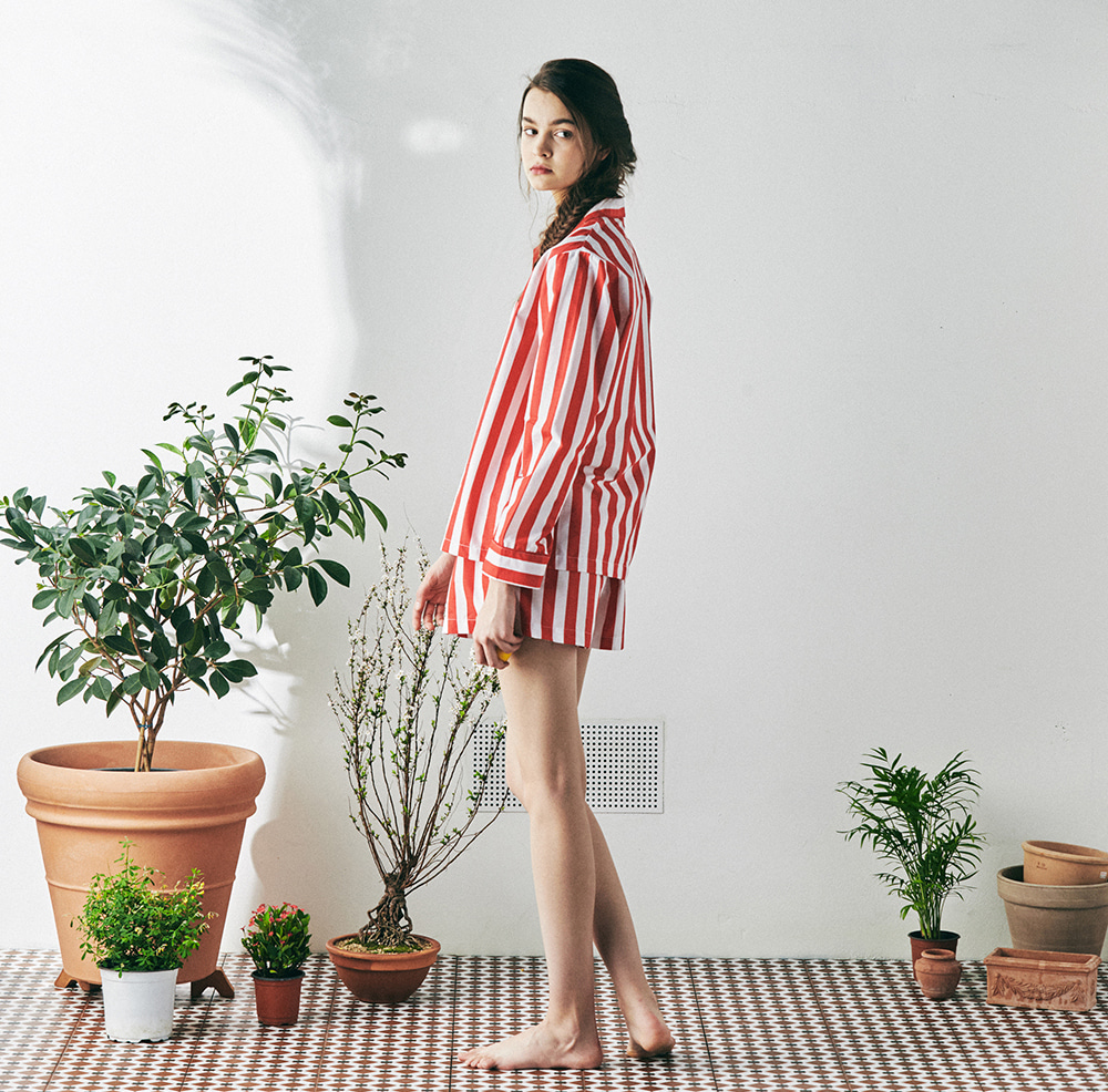 MONOPISPA(W) Marilyn L/S PJ Set(Lollipop Stripe Red)