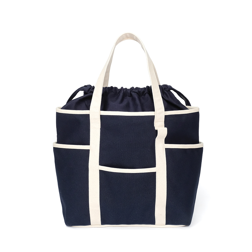 MAZI UNTITLEDCafe Tote Canvas(Navy/Ecru2)