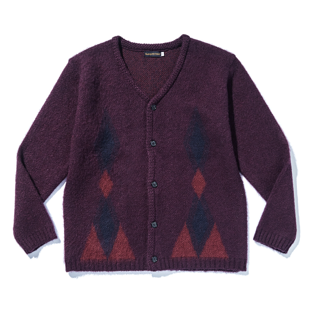 DEUTERODTR1916 Past Mohair Cardigan(Deep Wine)