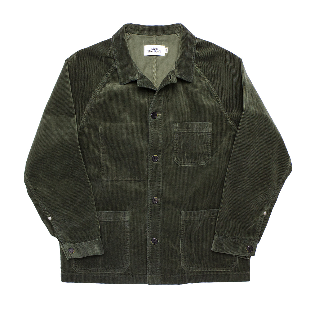 KICK THE BEATUnisex Cord Work Jacket(Deep Green)