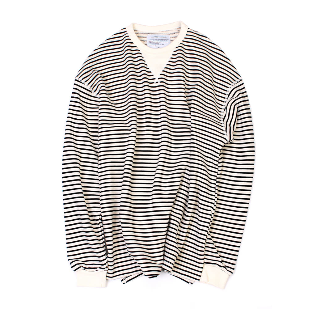 YOU NEED GARMENTSFlat Seam Stripe Shirts(White)