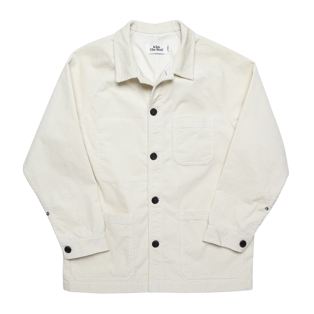 KICK THE BEATUnisex Cord Work Jacket(Ecru)