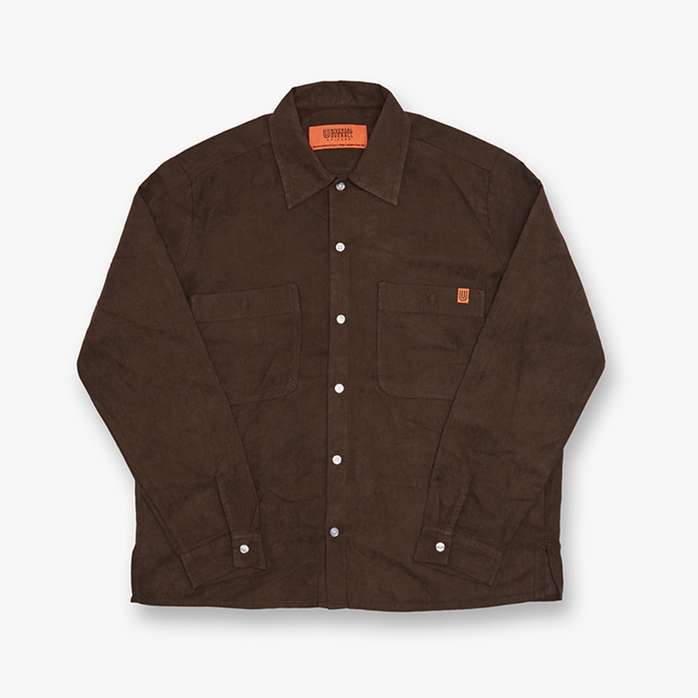 UNIVERSAL OVERALLUnisex Open Collar Shirts Long Sleeve (Brown)30% Off