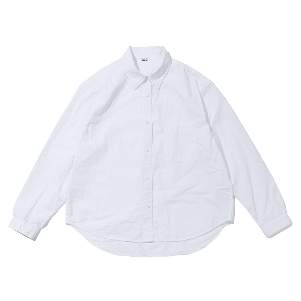 SOFTURWomen's Crop Wide Shirt(White)