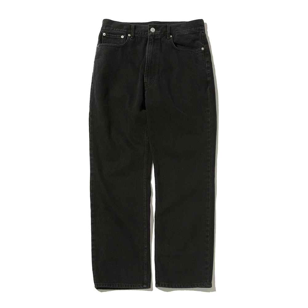 SOFTURUnisex Regular Denim Pants(Black)