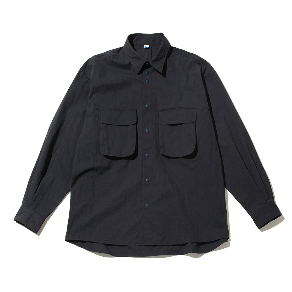 SOFTURRustle Wide Shirt(Navy)
