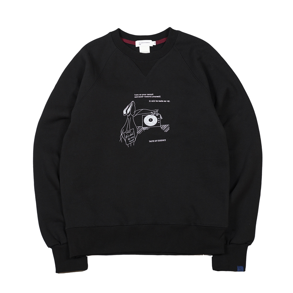 TOEHare Printed Sweat Shirt(Black)