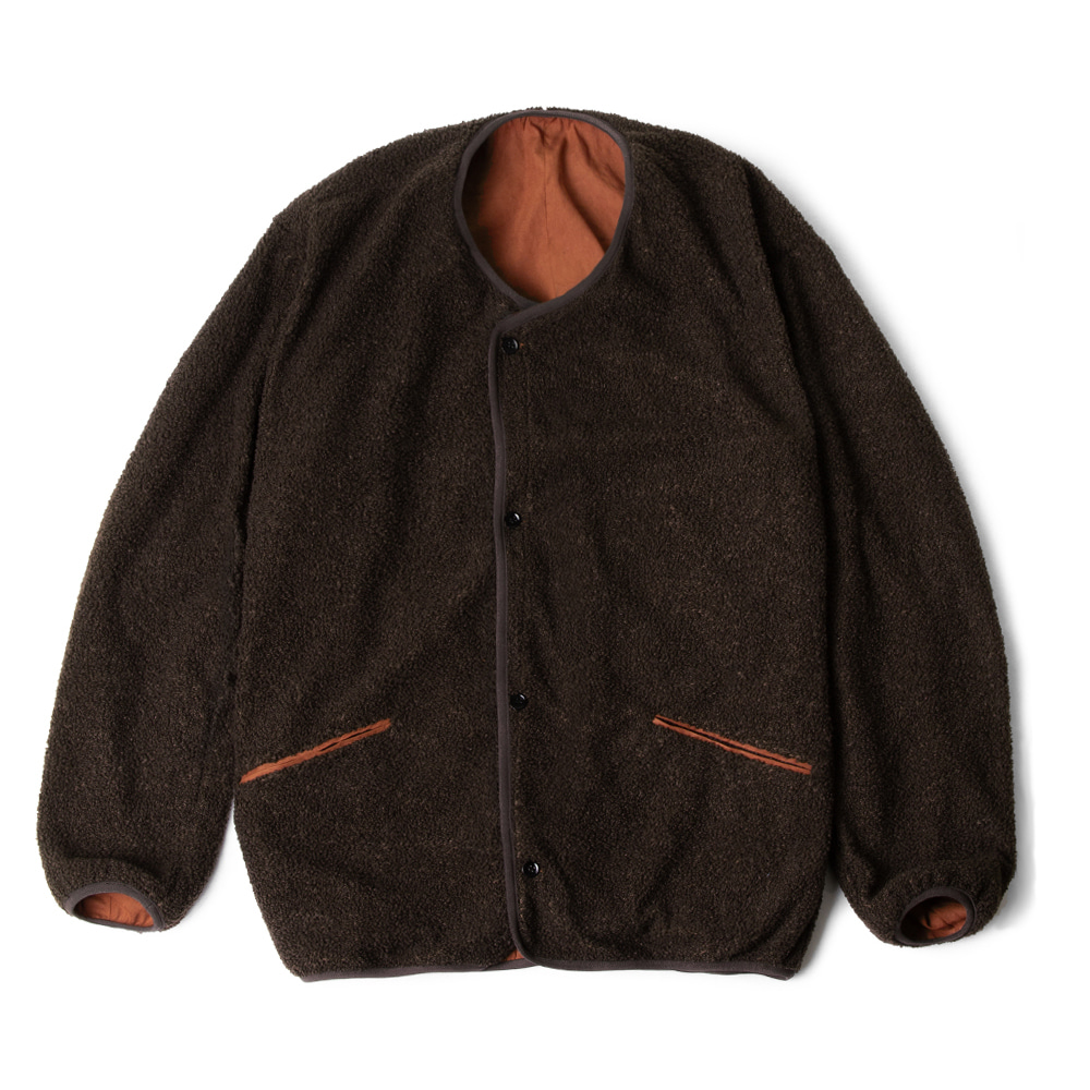 POLYTERUReversible Fleece Cardigan(Brown Orange)