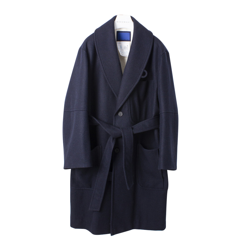 DOCUMENTWool Melton Big Robe Coat(Navy)