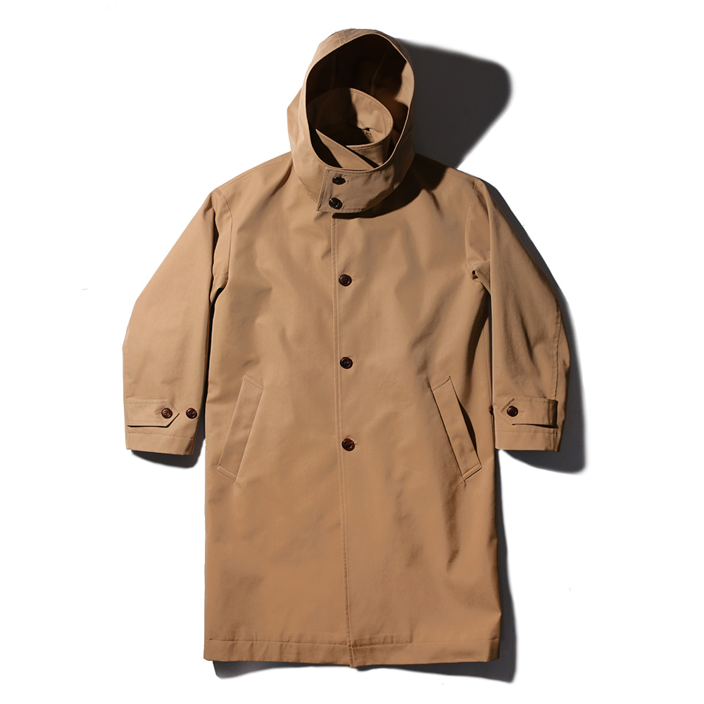 TEXT & SLNC x Kick The BeatUnisex Hooded Mac Coat(Beige)