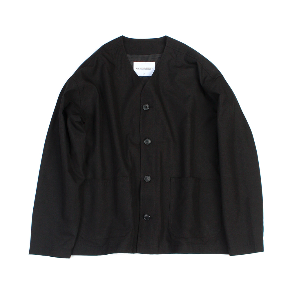 YOU NEED GARMENTSRCN Collarless Jacket(Black)