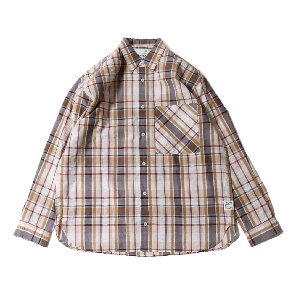 HORLISUNMaili Seersucker Check Loose Fit Shirts(Beige)
