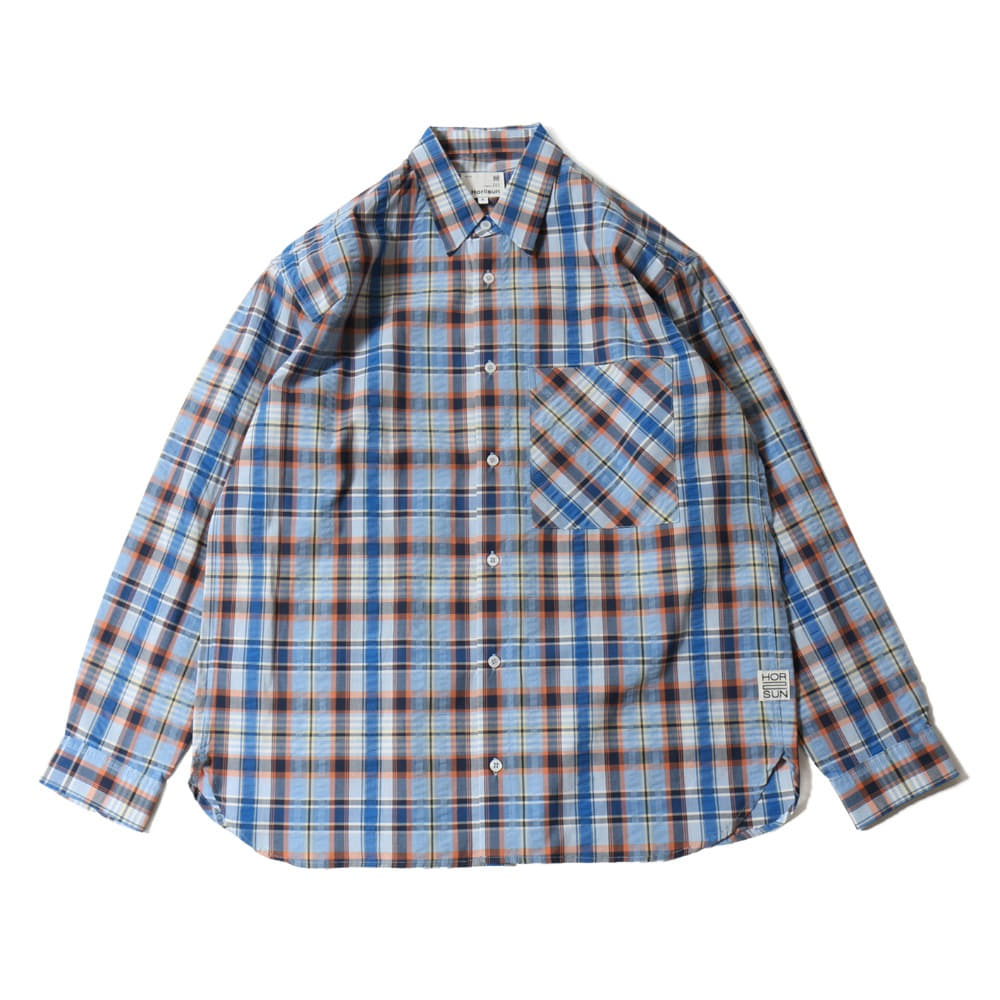 HORLISUNMaili Seersucker Check Loose Fit Shirts(Blue)