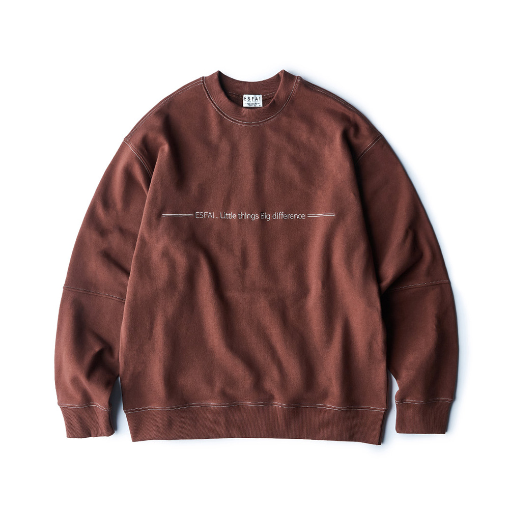 ESFAIColor Stitch Sweat Shirt (Brown)
