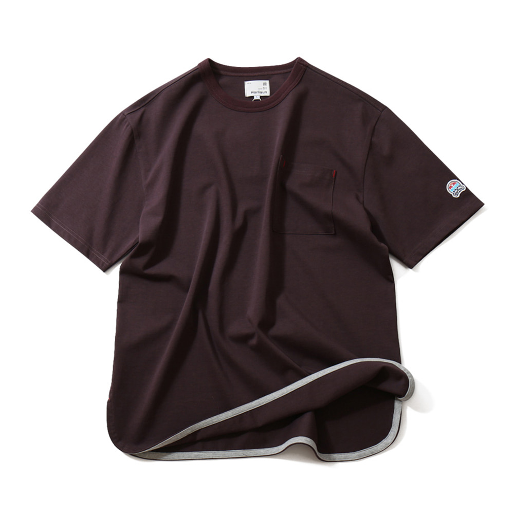 HORLISUN*RESTOCK*Unisex Emery Short Sleeve Pocket T(Burgundy)