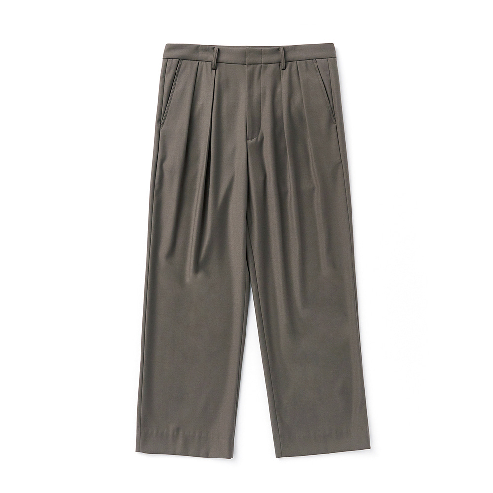 ESFAITuck Wide Slacks(Khaki Brown)