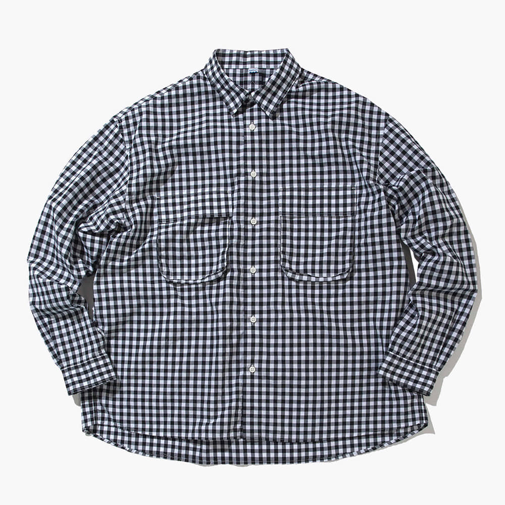 SOFTURGingham Wide Shirt(White/Black)