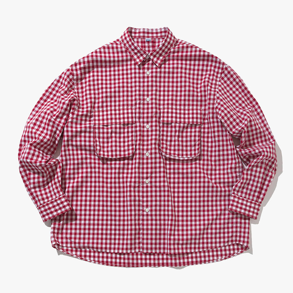 SOFTURGingham Wide Shirt(White/Red)