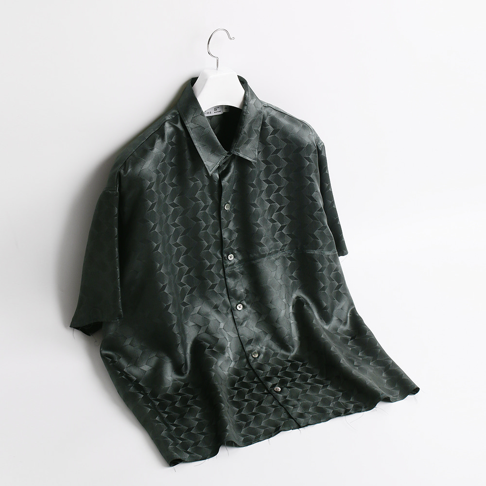 ATE STUDIOUnfinished Silk Half Shirts(Green)