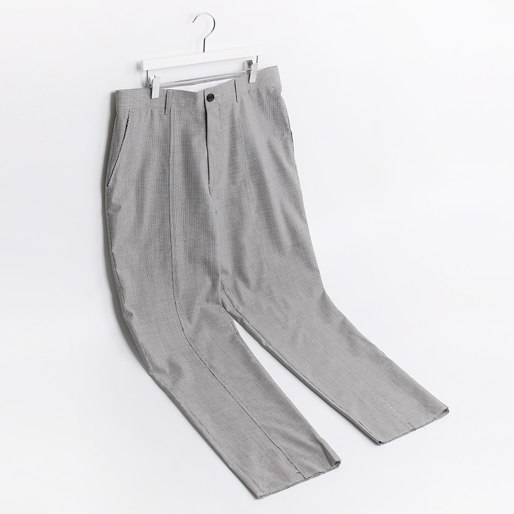 ATE STUDIOOver Lap Unfinished Wool Trouser(Grey Check)