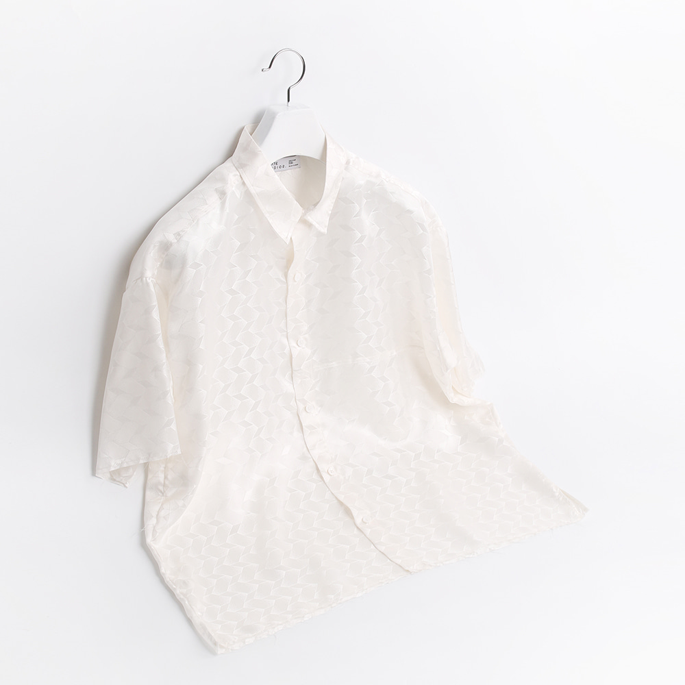 ATE STUDIOUnfinished Silk Half Shirts(White)