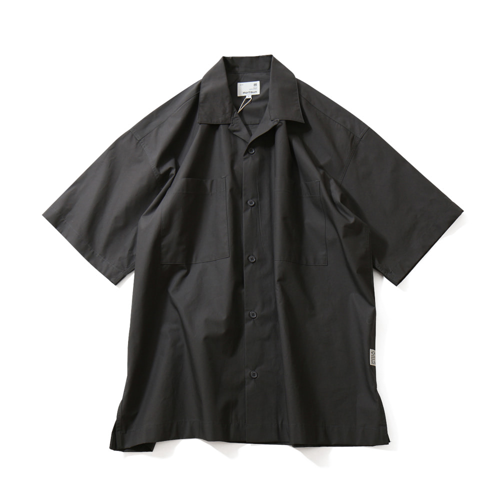 HORLISUNJoshua Extra Typewriter Solid Open Collar Shirts(Charcoal Gray)