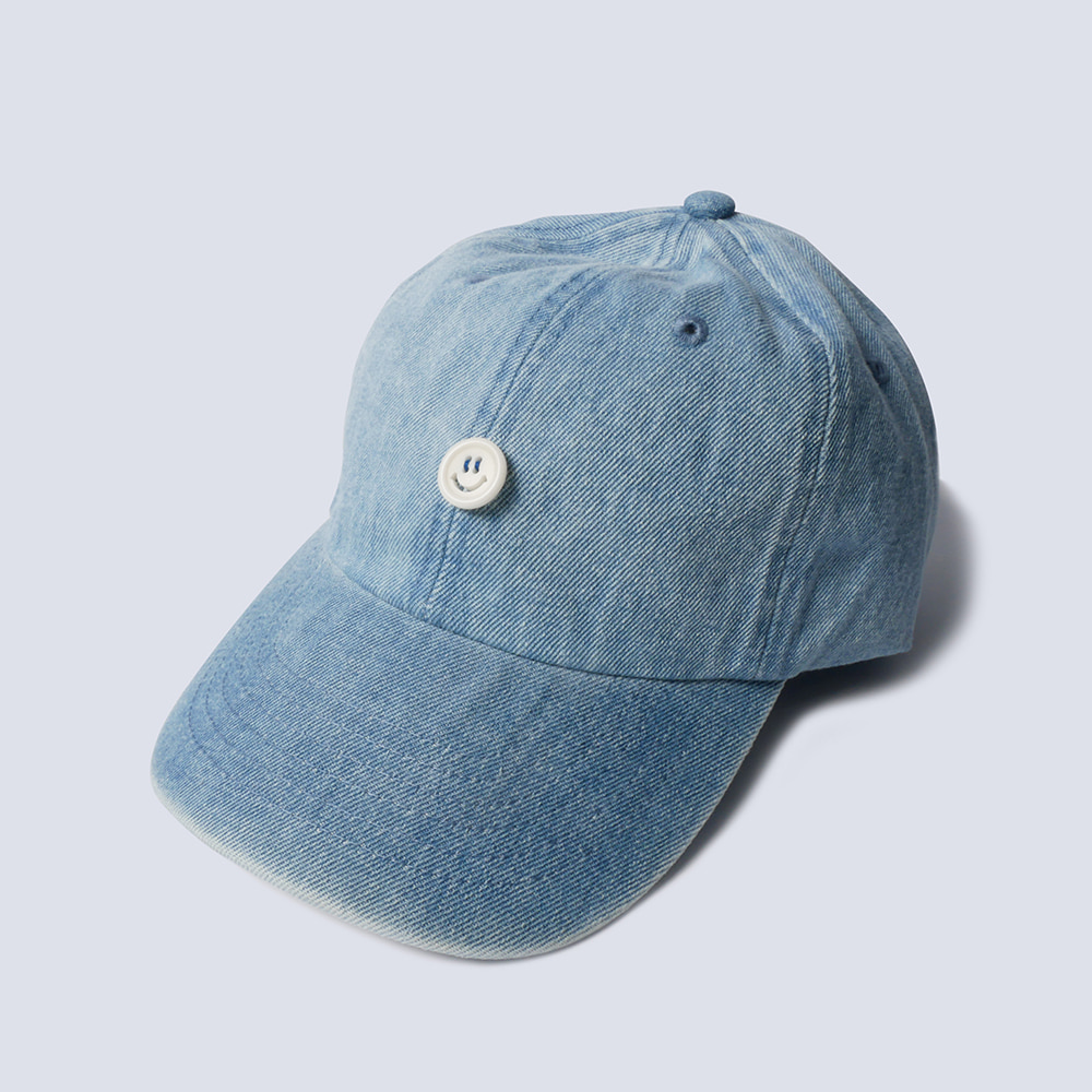 NAMER CLOTHINGSmile Button Denim Cap(Light Blue)