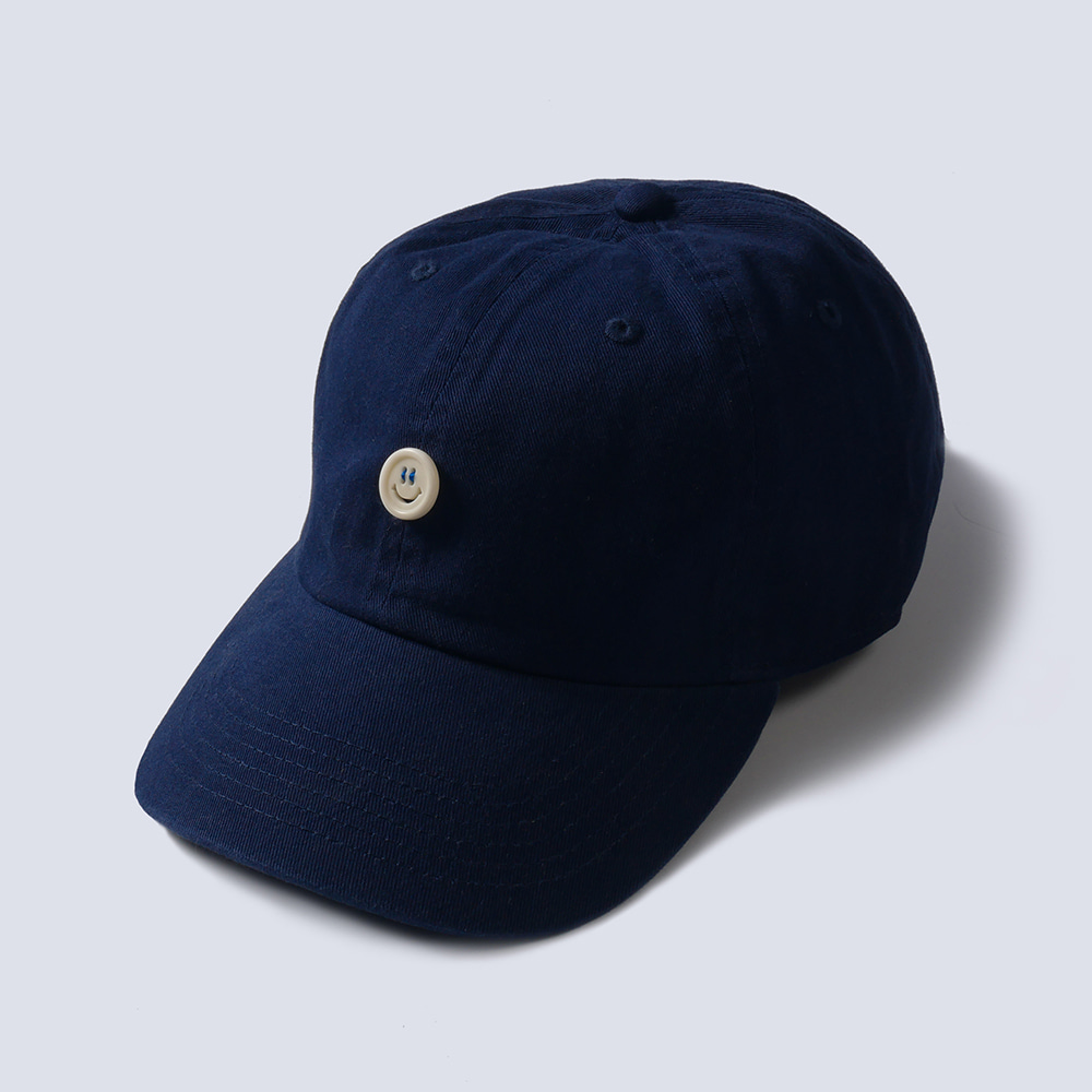 NAMER CLOTHING x TEXT SLNC*RESTOCK*Smile Button Cotton Cap(Navy)