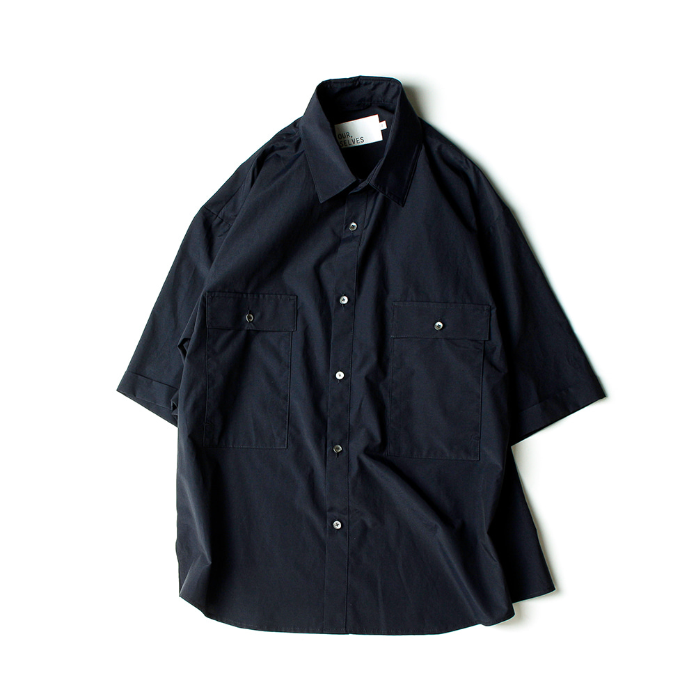 OUR SELVES4 Pocket Wide Half Shirts(Deep Navy)