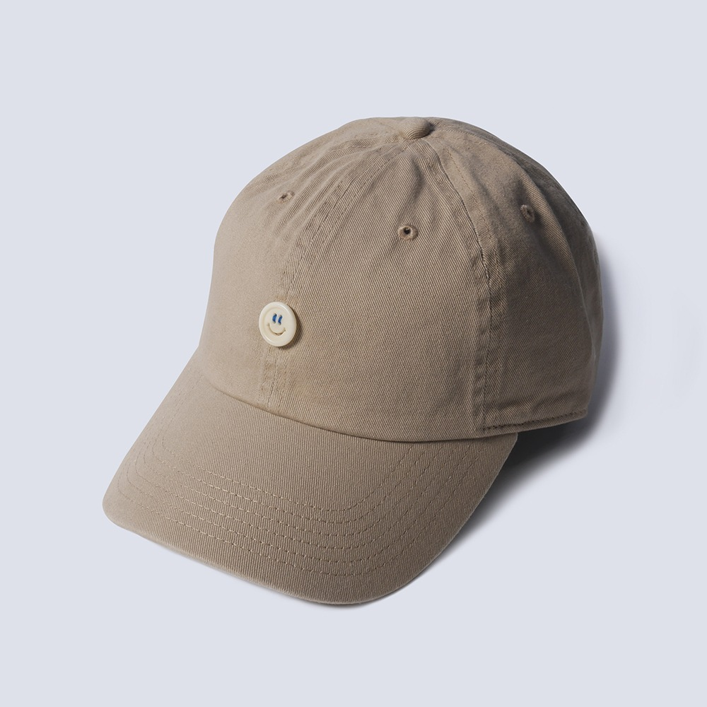 NAMER CLOTHING x TEXT SLNC*RESTOCK*Smile Button Cotton Cap(Beige)