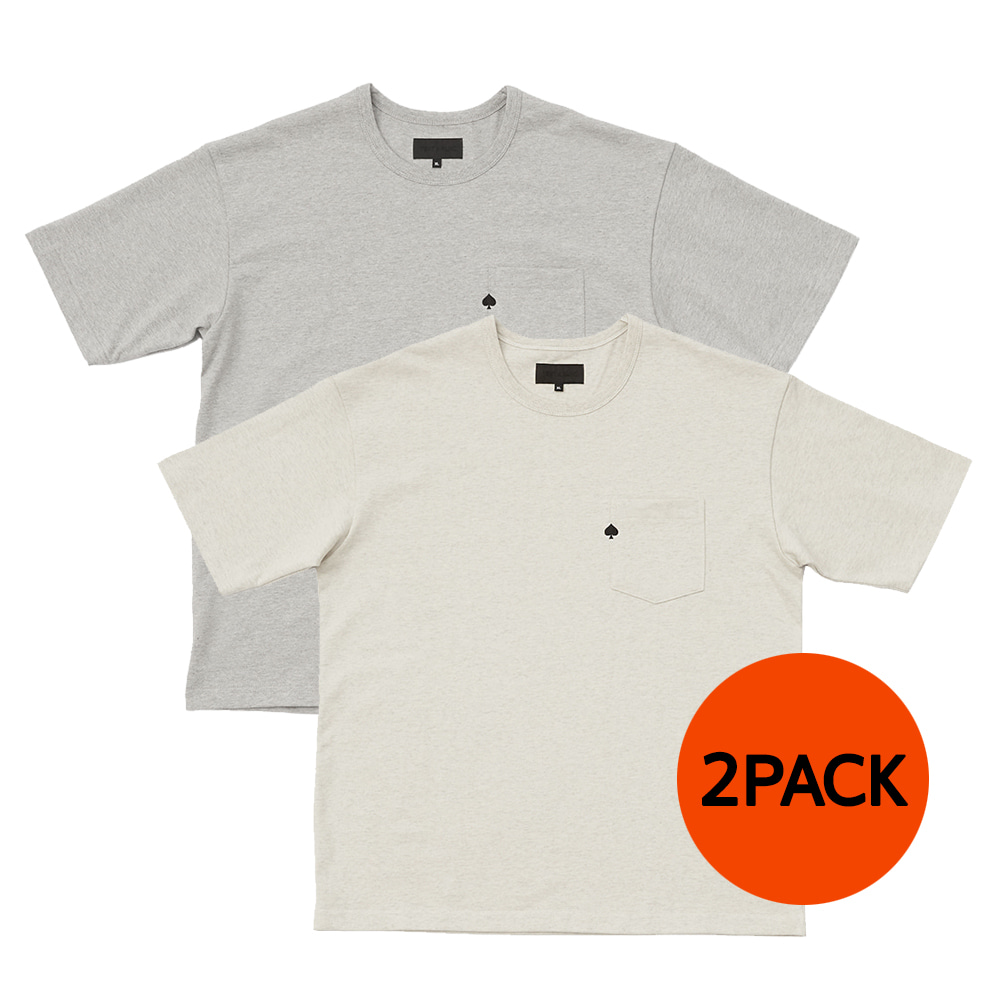 TEXT & SLNC2 PACKSpade Embroidered Pocket T(Oatmeal & Grey )