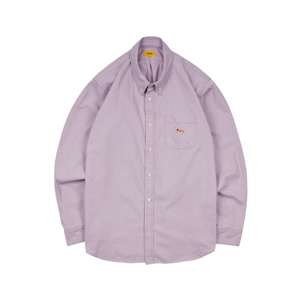 THE RESQ & COEmbroidery Oxford Shirt(Washed Puple)
