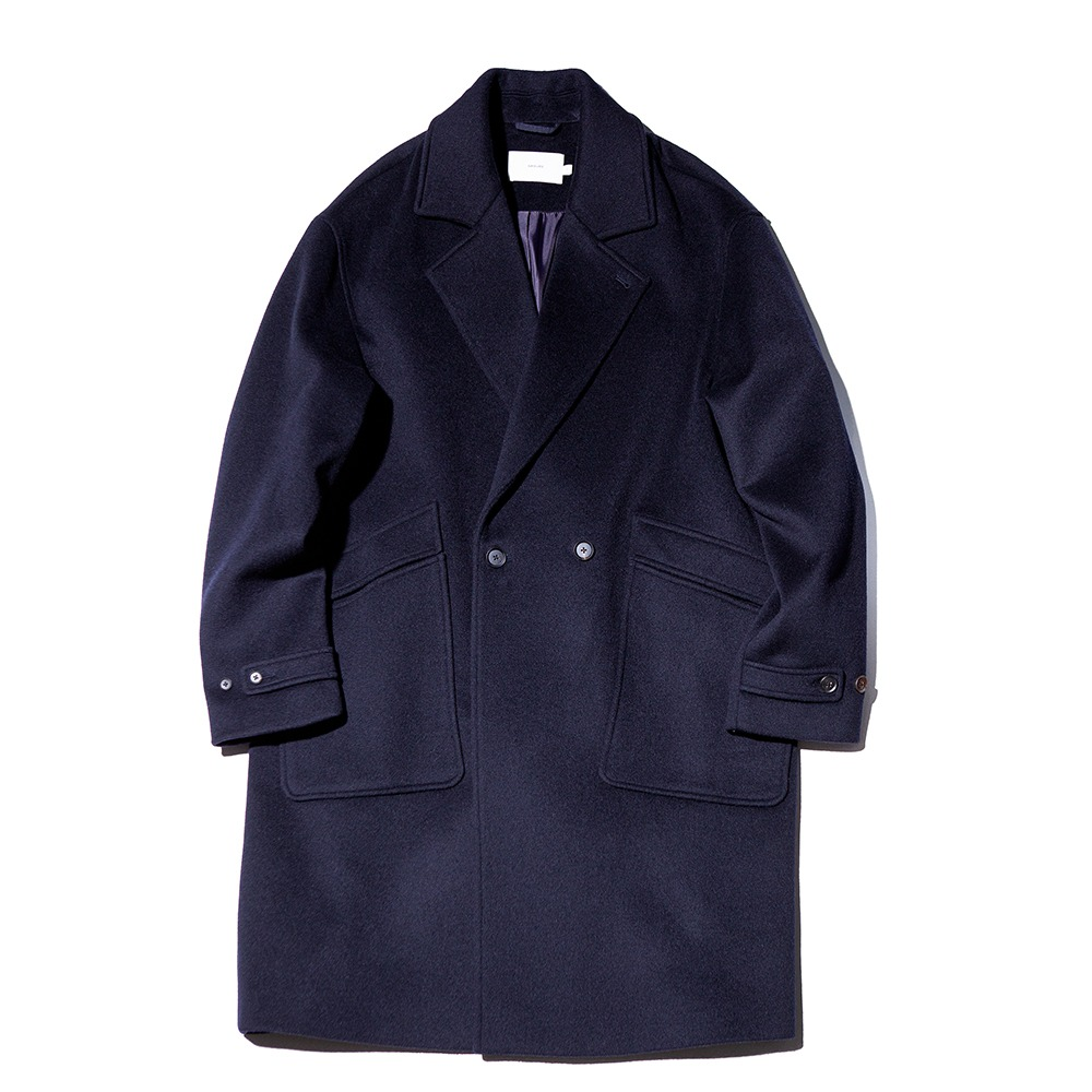 OUR SELVESSoft Wool Double Breasted Coat(Dark Navy)
