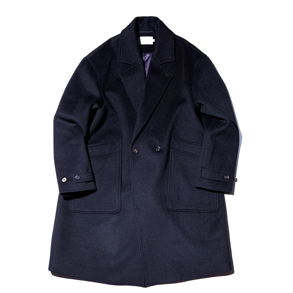 OUR SELVESSoft Wool Double Breasted Coat(Real Black)