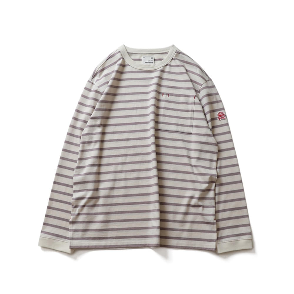 HORLISUNPowell Pocket Stripe Seasonal T-shirts(Lavender Stripe)
