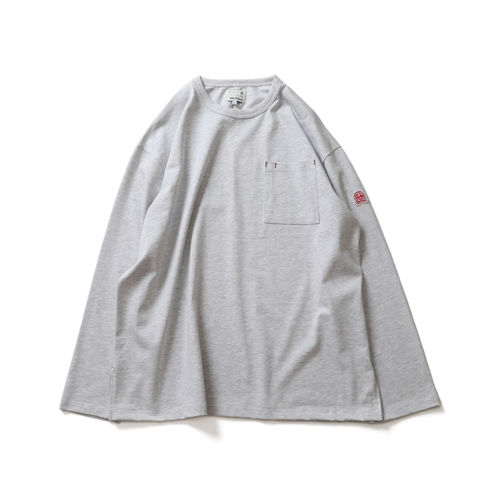 HORLISUNLawrence Overfit Long Sleeve Pocket T(Light Melange Grey)