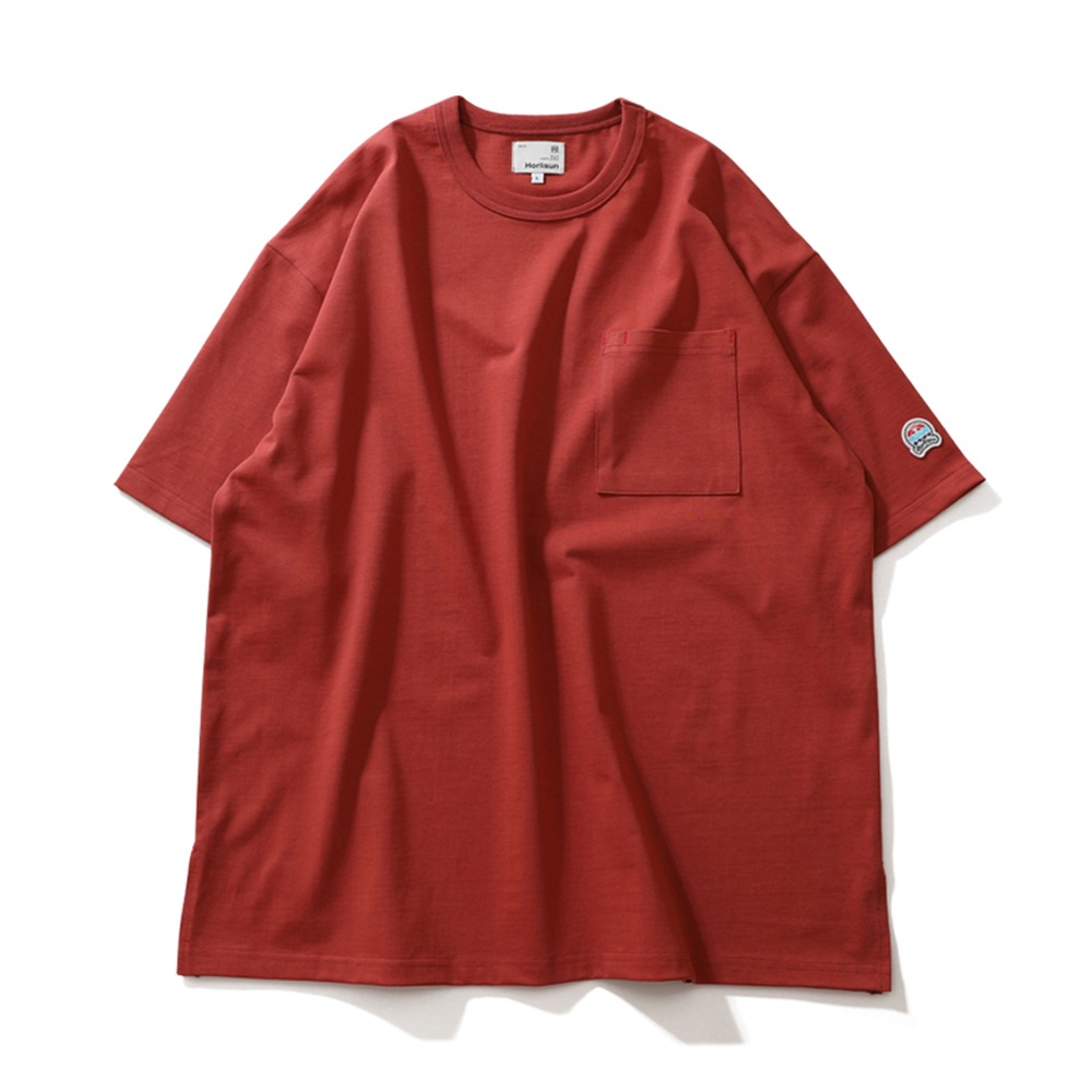HORLISUNLawrence Overfit Short Sleeve Pocket T-Shirts(Cherry Tomato)